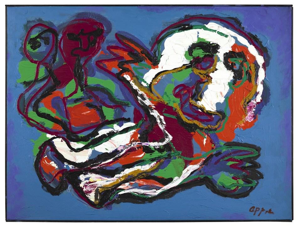 Karel Appel, Figures in Blue Background, 1987, Signed