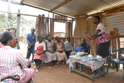 A group medical visit at AMPATH Kenya. When combined with a microfinance intervention, group medical visits can help lower blood pressure in patients with diabetes or hypertension.