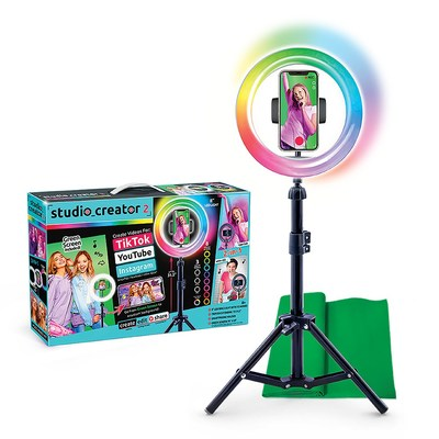 The Studio_Creator 2 Video Maker Kit is the ultimate tool for kids aspiring to become content creators. The kit includes a multicolored LED ring light, tripod, and green screen to help make creative videos and photos.