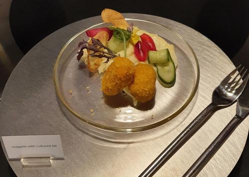 Hybrid nugget served at Peace of Meat's public cultured meat tasting. Twenty percent of the nugget was composed of Peace of Meat's cultured chicken fat. (PRNewsfoto/MeaTech 3D Ltd.)