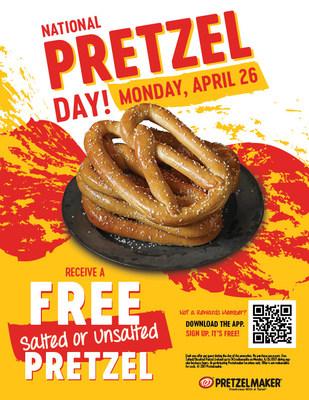 Enjoy a Free Pretzel at Pretzelmaker on National Pretzel Day.