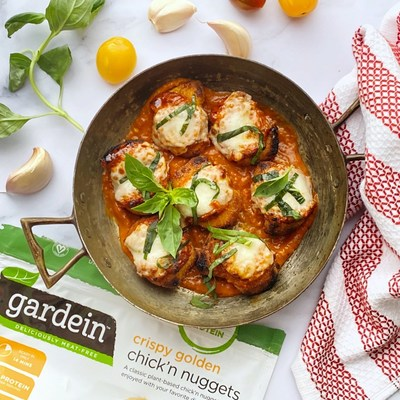 Chick'n Parm Bites with Gardein Crispy Golden Chick'n Nuggets is one of four recipes featuring Gardein created by the Potash Brothers for National Look Alike Day.