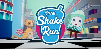 "Blend-it-yourself frozen beverage brand, f'real, introduces ""f'real Shake Run,"" a custom branded mobile game available for download via f'real blender screens nationwide."