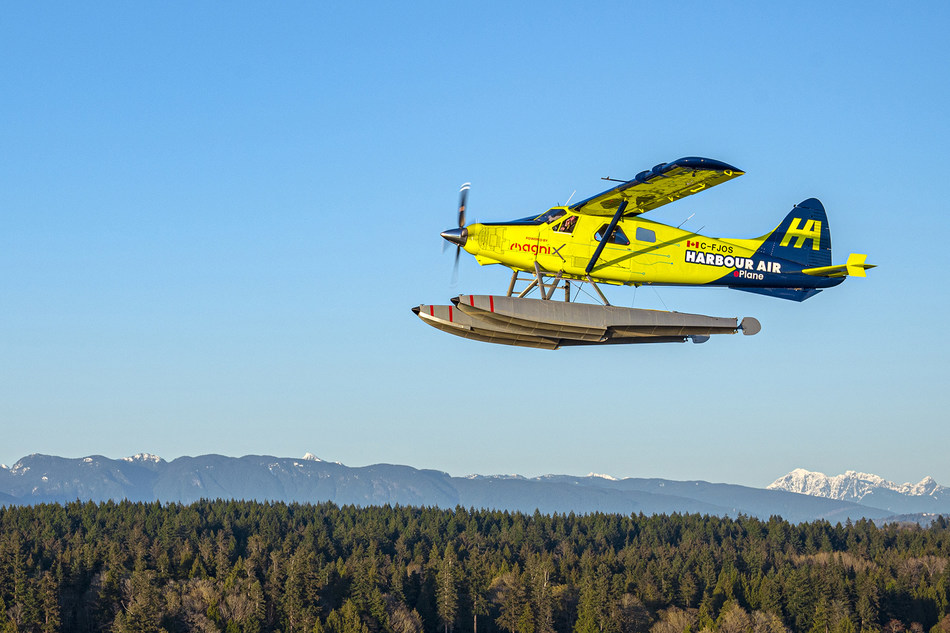 Harbour Air's eBeaver, powered by magniX, shown during a recent test flight. The next iteration of ePlanes will include battery power supplied by H55.