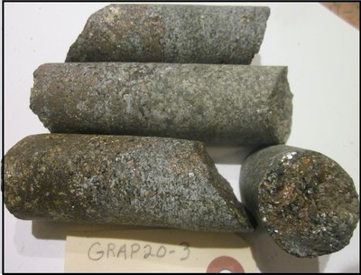 Figure 4. (3.2cm-diameter Core) Sulphide mineralization in Verification Core of Grand Portage showing (CNW Group/Canada Silver Cobalt Works Inc.)