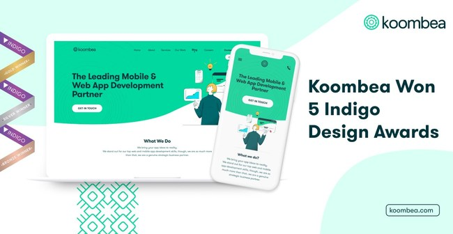Koombea won five Indigo Design Awards in the 2021 edition. A recognition of the exceptional UX/UI work that Koombea did for its own website koombea.com on five different categories.