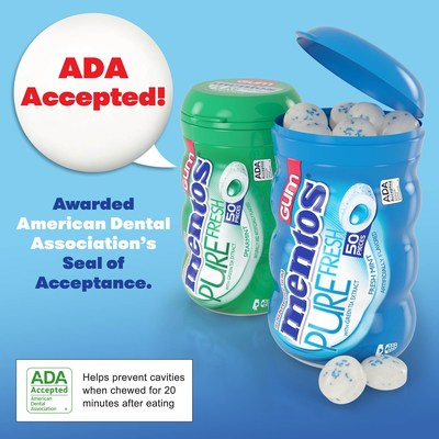 Mentos Pure Fresh Gum has been awarded the American Dental Association's Seal of Acceptance.