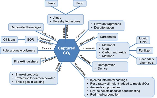 "Utilization pathways of captured carbon. Source: IDTechEx report, ""Carbon Capture, Utilization, and Storage 2021-2040"" (www.IDTechEx.com/CCUS)"