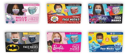 Just Play's Children's Face Masks feature characters and properties that kids know and love, including Barbie®, Batman, Blue's Clues & You!, DreamWorks Animation's Trolls World Tour, Hello Kitty®, and Ryan's World™. The single use masks feature a contouring nose strip and three layers of protection and are sold in family-sized packs of either 14 or 24 masks.