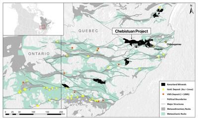 Figure 2. Chebistuan Project Location (CNW Group/Kenorland Minerals Ltd.)