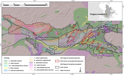 Figure 1.Chebistuan Project Geology, Sample Locations and Areas of Interest (CNW Group/Kenorland Minerals Ltd.)