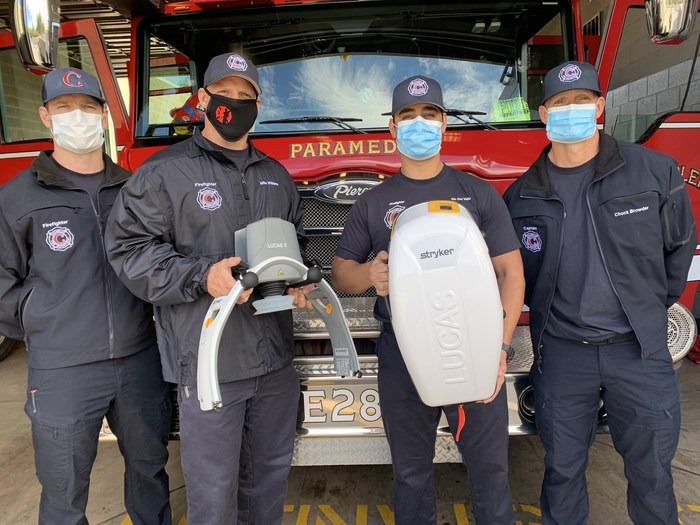 Firehouse Subs Public Safety Foundation grant recipients of a Stryker chest compression system
