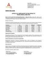 Africa Oil Announces Voting Results from Annual Meeting (CNW Group/Africa Oil Corp.)