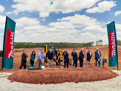 Makita U.S.A. representatives are joined by construction and development executives and the Mayor for the ceremonial groundbreaking of a new state-of-the-art distribution, training and service center in Hall County, GA.