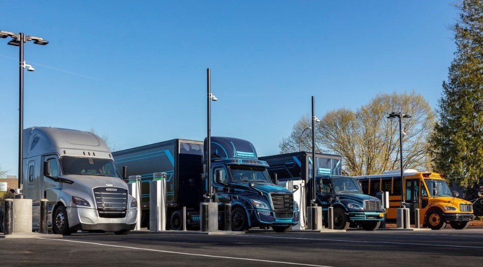 Electric vehicles, including the freightliner eCascadia and eM2 trucks made by DTNA, charge at DTNA and PGE's Electric Island charging site