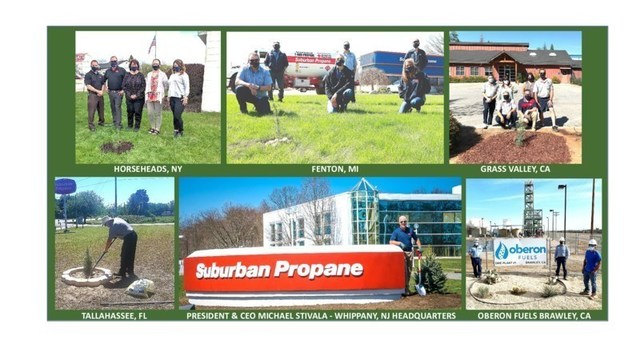 Suburban Propane CEO, Michael Stivala, planting a blue spruce tree at the company's Whippany, NJ headquarters (center) with simultaneous tree plantings at Customer Service Centers in Grass Valley, CA; Horseheads, NY; Fenton, MI; Tallahassee, FL; and a cactus planting at Oberon Fuels in Brawley, CA.