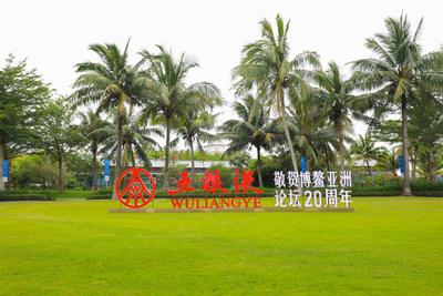 A foto mostra o logotipo do principal fabricante de bebidas alcoólicas da China, Wuliangye, em um gramado na Conferência anual do Fórum de Boao para a Ásia de 2021, realizada em Hainan, no sul da China. (PRNewsfoto/Xinhua Silk Road)