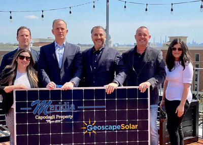 From the left: Neal Erman, Director of Commercial Sales at GeoscapeSolar, Florencia Mansilla, Marketing Coordinator for Meridia, Evan Swalling, Director of Asset Management at Meridia, Michael Boches, Chief Executive Officer for Solarscape, Lee Watson, Chief Operating Officer for Solarscape and Jennifer Salva Property Manager for Meridia Living