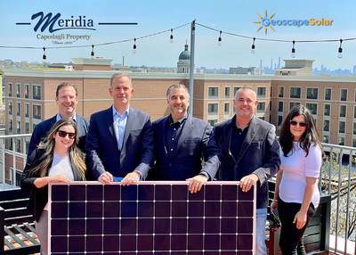 From the left: Neal Erman, Director of Commercial Sales at GeoscapeSolar, Florencia Mansilla, Marketing Coordinator for Meridia, Evan Swalling, Director of Asset Management at Meridia, Michael Boches, Chief Executive Officer for Solarscape, Lee Watson, Chief Operating Officer for Solarscape and Jennifer Salva Property Manager for Meridia