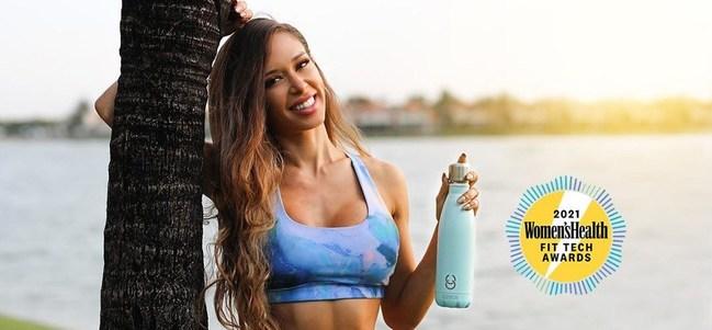 CrazyCap Bottle Women's Health Fit Tech Award Winner 2021 for Best Self-cleaning Bottle.