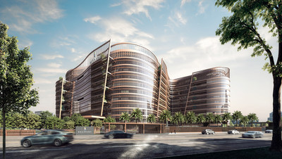Rendering of Rio Business Park, Bangalore, India with over 200,000 square feet of SageGlass Harmony® electrochromic glass, controls and software