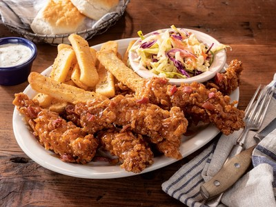 Another new option, Cracker Barrel is now offering Sweet N' Smoky Glazed Tenders - crispy tenders fried and tossed with maple bacon glaze, then served with buttermilk ranch for dipping.