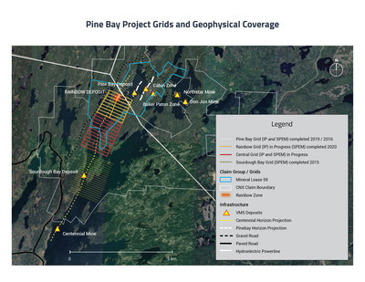Pine Bay Project Grids and Geophysical Coverage (CNW Group/Callinex Mines Inc.)