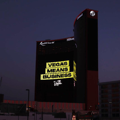 Clear Channel Outdoor, The Las Vegas Convention and Visitors Authority, Resorts World and R&R Partners show the world that Vegas Means Business using the new displays as tourism continues to return to the region