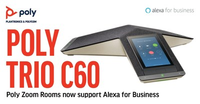 Poly Trio C60,Trio 8500, and Trio 8800 smart conference phones all feature Alexa for Business capabilities for the ultimate touch-free, Zoom Rooms, communication experience.