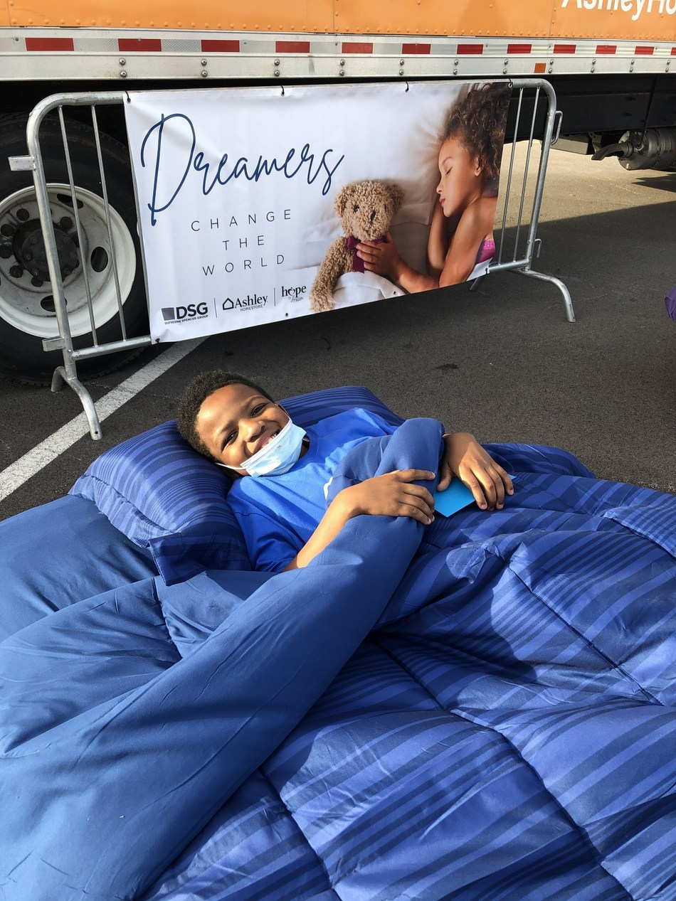 Several children at this year's Kentucky Derby Great Bed Races were surprised with brand-new beds to call their own, courtesy of Ashley HomeStore's Hope to Dream program.