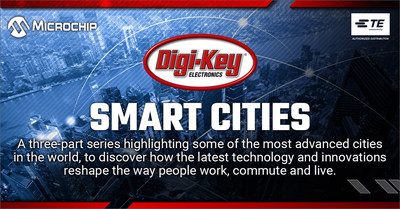 """Digi-Key is introducing """"Smarter, Safer Cities,"""" a three-part video series on smart cities, with TE and Microchip."""