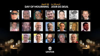 Photos of Unifor members that died on the job or from COVID-19 this year. (CNW Group/Unifor)