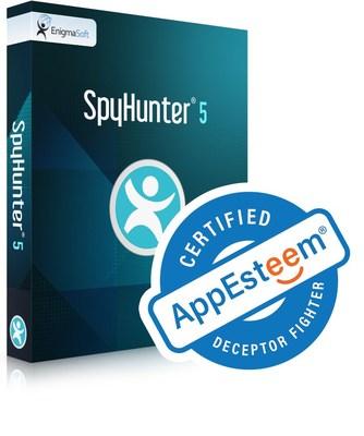 """O SpyHunter 5 é certificado como aplicativo """"Deceptor Fighter"""" e """"limpo"""" pela empresa de avaliação de software AppEsteem. (PRNewsfoto/EnigmaSoft Limited)"""
