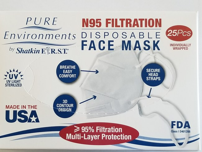 Box of 25 Made in USA N95 face masks