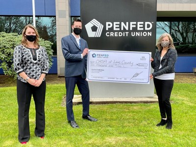 PenFed presents CASA with a $10,000 donation. From left to right: CASA Executive Director Heather Murphy, PenFed Director of Service Center Operations Tap Bowman and CASA Development Director Michele Morgan.