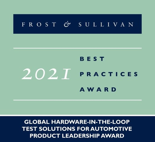 2021 Global Hardware-in-the-loop Test Solutions for Automotive Product Leadership Award (PRNewsfoto/Frost & Sullivan)