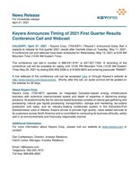 Keyera Announces Timing of 2021 First Quarter Results Conference Call and Webcast (CNW Group/Keyera Corp.)