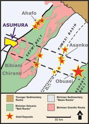 Figure 1 Asumura Property Location (CNW Group/Galiano Gold Inc.)
