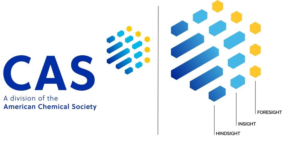 The new CAS logo whose three colors represent the hindsight, insight and foresight that are foundational to scientific discovery. (PRNewsfoto/CAS)