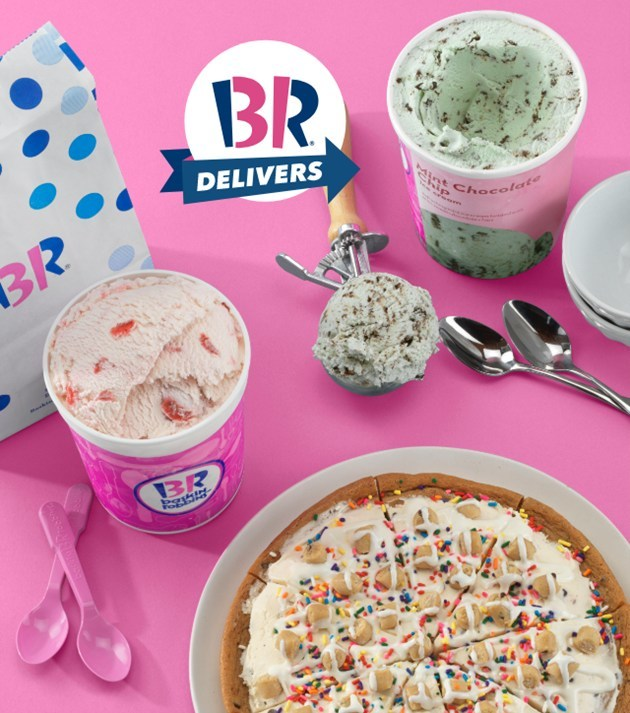 Beginning mid-May, Baskin-Robbins scoops, shakes, sundaes and more will be available for delivery through the Postmates app and Postmates.com! From May 17 – May 23, guests can receive $5 off their first Baskin-Robbins order of $15 or more on Postmates, as well as Uber Eats and DoorDash.