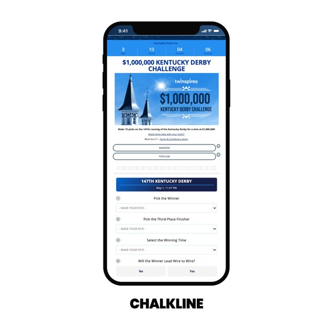 The 2021 TwinSpires $1,000,000 Kentucky Derby Freeplay Challenge powered by Chalkline