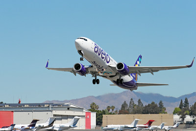 BURBANK, CALIFORNIA - APRIL 28: Avelo Airlines takes off with first flight from Hollywood Burbank Airport on April 28, 2021 in Burbank, California. (Photo by Joe Scarnici/Getty Images for Avelo Air) (PRNewsfoto/Avelo Airlines)
