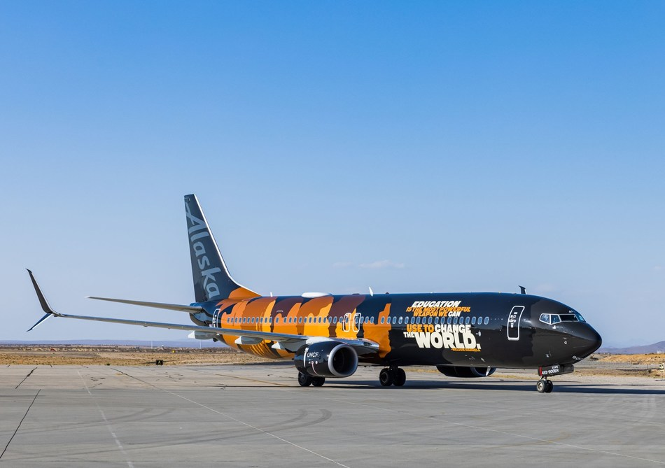 """Alaska Airlines reveals """"Our Commitment"""" aircraft in partnership with UNCF"""