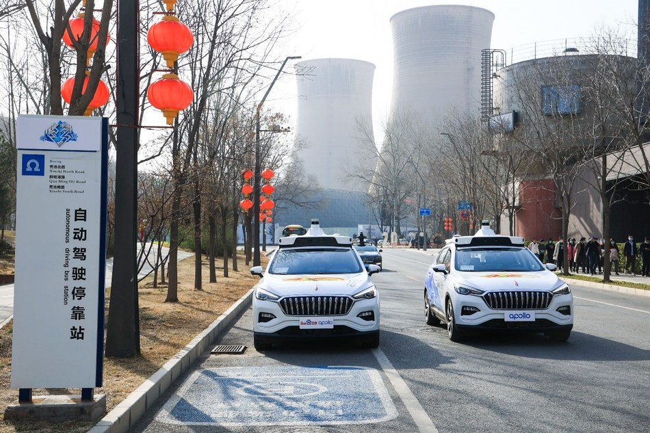 Baidu Apollo's fully driverless robotaxis in motion
