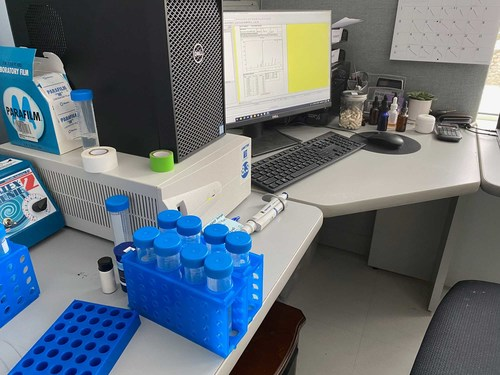 A CBD product testing station at High Purity Natural Products facility in Southbridge, MA.