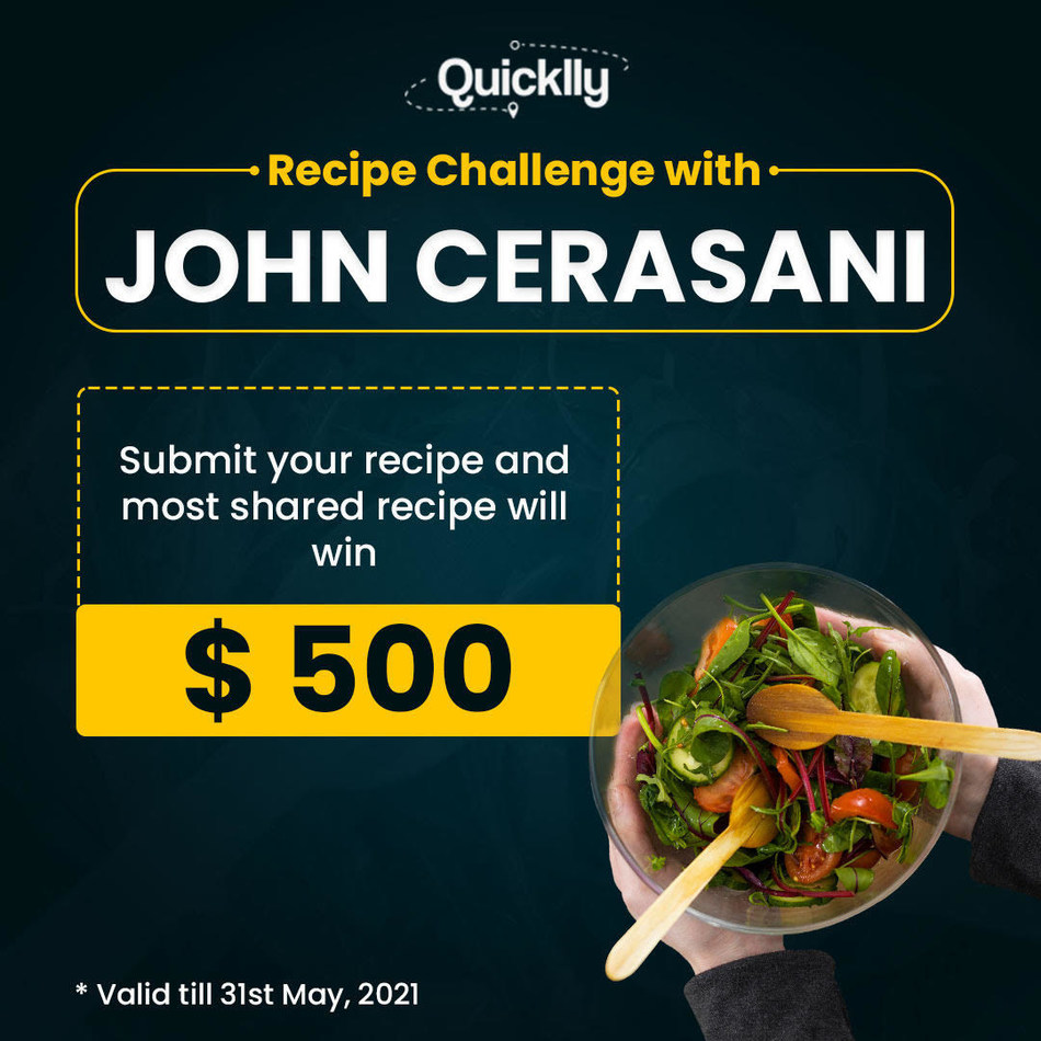 Startup investor John Cerasani and Quicklly join forces to give recipe creators a chance to win $500 and lifetime royalties when their recipes go viral.