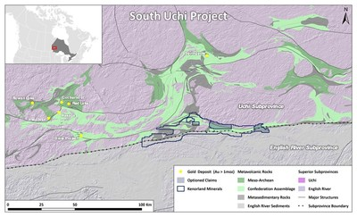Figure 1. South Uchi Project Location (CNW Group/Kenorland Minerals Ltd.)
