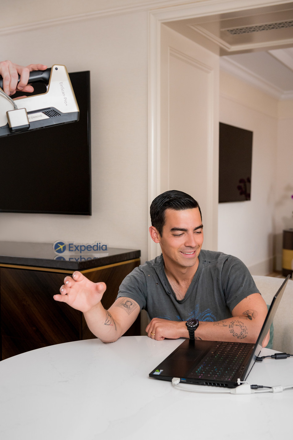 A sneak peek at the making of the Expedia Helping Hand - an exact replica of Joe Jonas's right hand that will be offered in support to travelers who are eager to travel the world again.