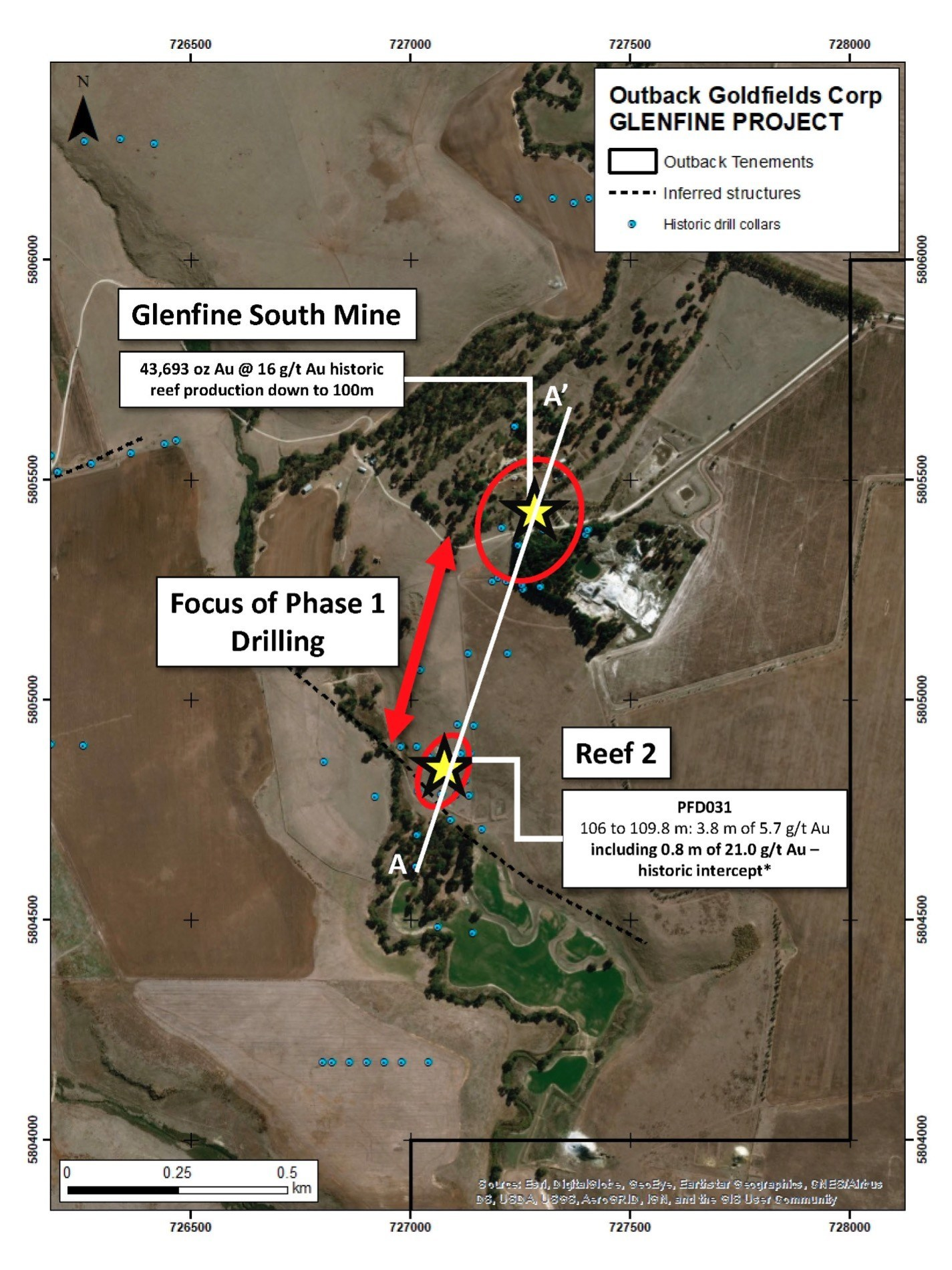 Map showing the main target areas at the Glenfine project. Note section line for Figure 1. (CNW Group/Outback Goldfields Corp.)