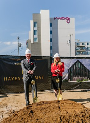 Larry Hayes, Jr. and Rachel Thomas on the site of the new Nashville building.